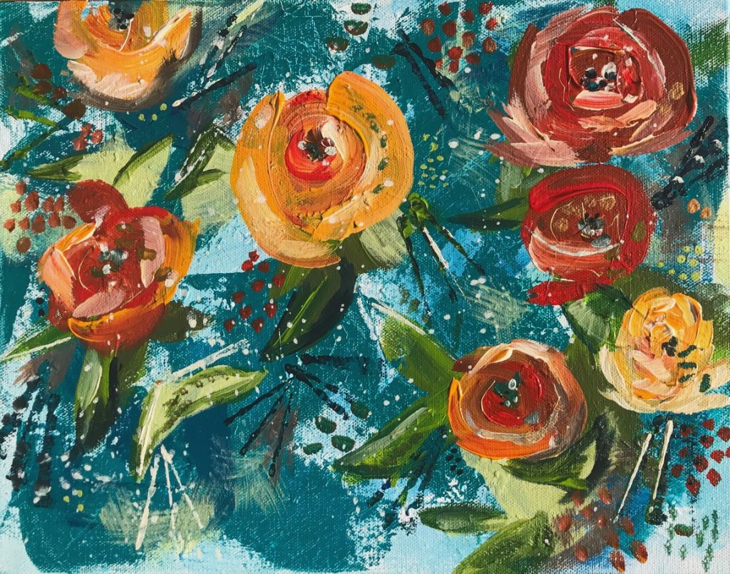 Painting of fall flowers